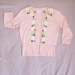 Halogen pink 3/4 sleeves cotton cardigan